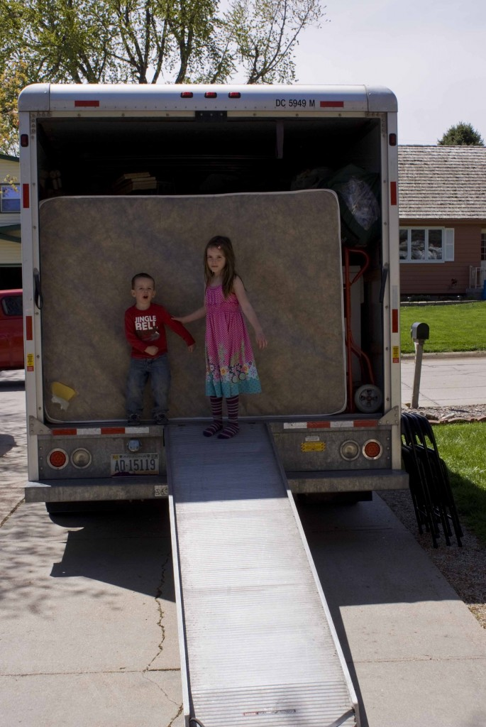 Kids and the moving truck