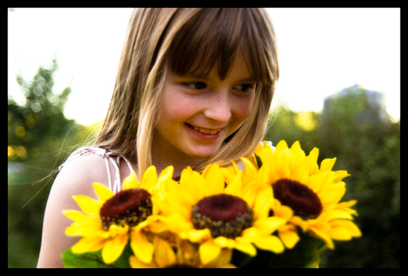 Lily with sunflowers - Homeschooling